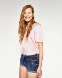 Zara | Blue Body Curve Denim Shorts | Lyst