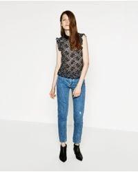 Zara | Black Lace Shirt | Lyst