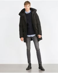 Zara | Gray Quilted Three Quarter Length Coat for Men | Lyst