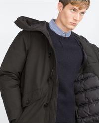Zara | Black Quilted Three Quarter Length Coat for Men | Lyst