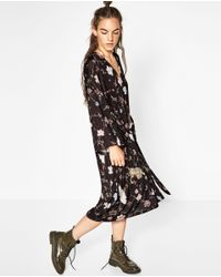 Zara | Multicolor Kimono-style Printed Dress | Lyst