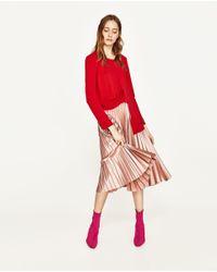 Zara   Multicolor Pleated Midi Skirt   Lyst