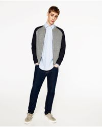 Zara   Gray Two-tone Quilted Bomber Jacket for Men   Lyst