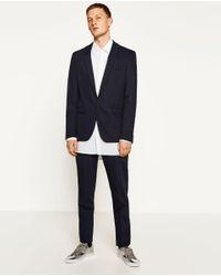 Zara | Blue Chintz Suit Trousers for Men | Lyst