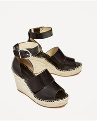 Zara   Black Jute Wedges With Ankle Strap   Lyst