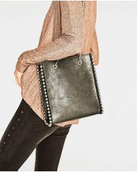 Zara | Green Mini Studded Tote | Lyst