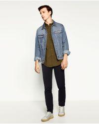 Zara | Green Tab Sleeve Shirt for Men | Lyst