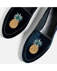 Zara | Blue Flat Velvet Shoes With Embroidery Detail | Lyst