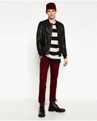Zara | Black Perforated Bomber Jacket for Men | Lyst