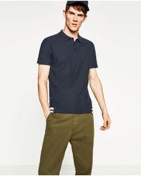 Zara | Blue Knit Polo Shirt for Men | Lyst