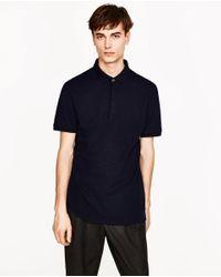 Zara | Blue Piqué Structured Polo Shirt for Men | Lyst