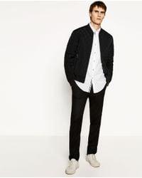 Zara | Black Quilted Bomber Jacket for Men | Lyst