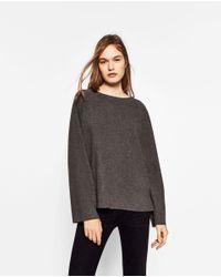 Zara | Gray Bell Sleeve Sweater | Lyst