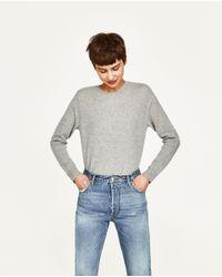 Zara   Gray Cashmere Sweater   Lyst