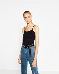 Zara | Black T-shirt With Thin Straps | Lyst