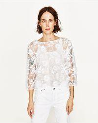 Zara | White Lace Top | Lyst