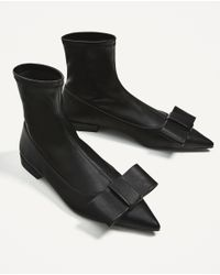 Zara | Black Flat Ankle Boots With Bow Detail | Lyst