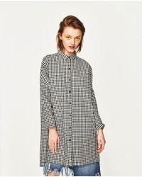 Zara   Multicolor Check Shirt Dress   Lyst