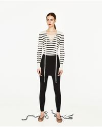 Zara | Multicolor V-neck Sweater With Bow | Lyst