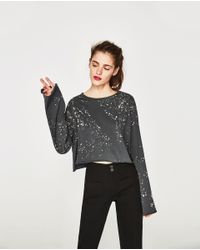 Zara | Multicolor Cropped T-shirt With Print | Lyst
