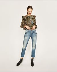 Zara | Multicolor Printed Blouse With Frills | Lyst