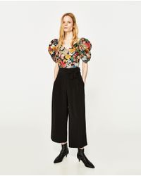 Zara | Black Cropped Trousers With Side Tie | Lyst