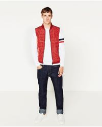 Zara | Red Quilted Vest for Men | Lyst