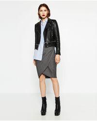Zara | Black Leather Effect Jacket | Lyst
