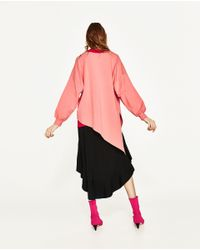 Zara | Pink Plush Asymmetric Sweatshirt | Lyst