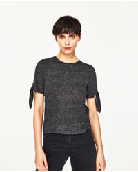 Zara | Gray T-shirt With Cut Out Sleeves And Knots | Lyst