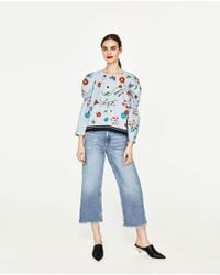 Zara | Blue Printed Poplin Top | Lyst