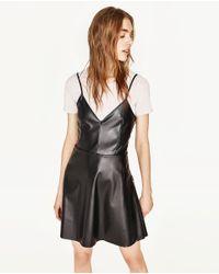 Zara   Black Faux Leather Mini Dress   Lyst