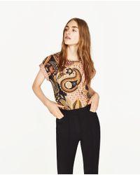 Zara | Multicolor Paisley Print T-shirt | Lyst