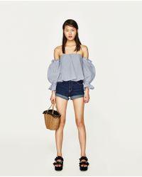 Zara | Blue High Rise Denim Shorts | Lyst