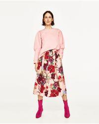 Zara | Red Floral Print Midi Skirt | Lyst