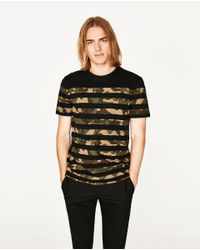 Zara | Black Camouflage Striped T-shirt for Men | Lyst