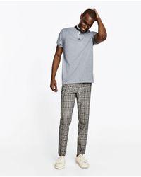 Zara | Gray Piqué Polo Shirt With Mandarin Collar for Men | Lyst