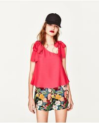 Zara | Red Strappy Top With Bow | Lyst