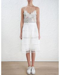 Zimmermann   Multicolor 'iris' Floral Stranded Lace Cami   Lyst