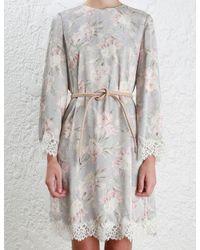 Zimmermann - Gray Stranded Lace Swing Dress - Lyst