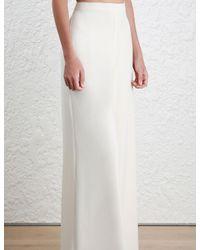Zimmermann - White Crepe Wide Leg Pant - Lyst