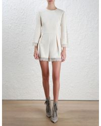 Zimmermann - White Lace Playsuit - Lyst