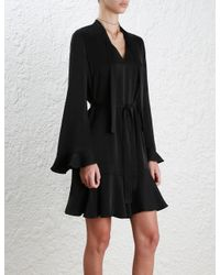 Zimmermann - Black Sueded Tie Neck Shift Dress - Lyst