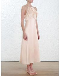 Zimmermann - Pink Ruffle Midi Dress - Lyst
