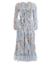 Zimmermann Blue Bowie Waterfall Long Dress