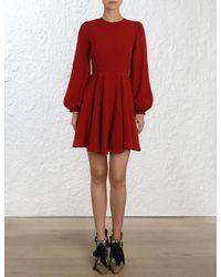 Zimmermann Red Blouson Sleeve Mini Dress