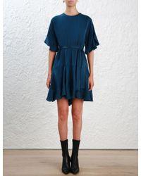 Zimmermann - Blue Sueded Flounce Dress - Lyst