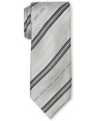 Armani Grey Stripe Silk Tie - Lyst