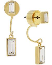 Vince Camuto - Gold-tone Baguette-style Crystal Front And Back Earrings - Lyst