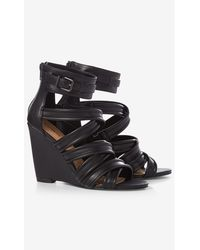 Express Strappy Cage Wedge Sandal - Black
